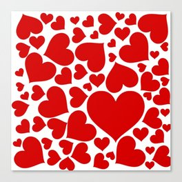 CLUSTERED RED VALENTINE HEARTS ON WHITE Canvas Print