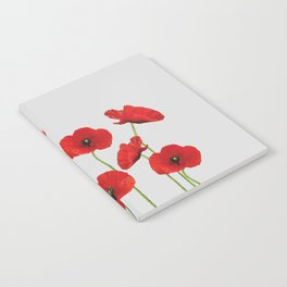 poppies Flowers red grey background Notebook