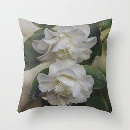 Romantic White Vintage Flowers, Nature Prints, Flower Photography Throw Pillow
