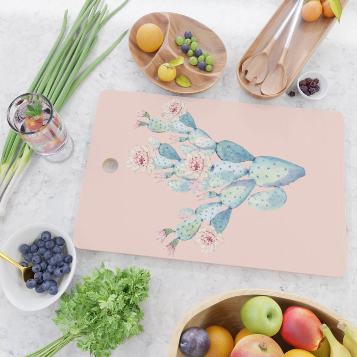 Rose Desert Cactus on Pink by Nature Magick Cutting Board