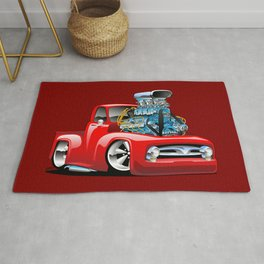 American Classic Hot Rod Pickup Truck Cartoon Rug