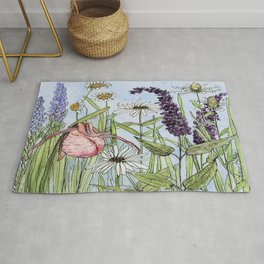 Lady Slipper Orchid Woodland Wildflower Watercolor Rug