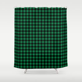 Winter green and black plaid christmas gifts minimal pattern plaids checked Shower Curtain