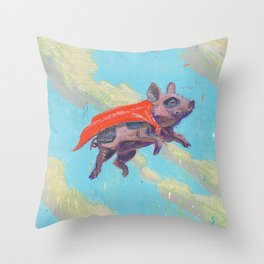 flying pig - by phil art guy Throw Pillow