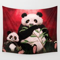 pandas Wall Tapestries featuring Pandas by J ō v