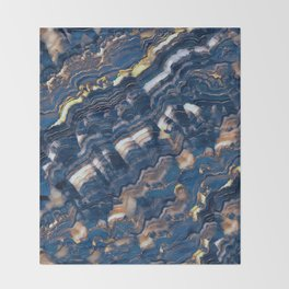 Blue marble with Golden streaks Throw Blanket