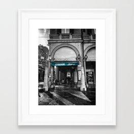 Black and White Bologna Street Photography Vector Green Framed Art Print