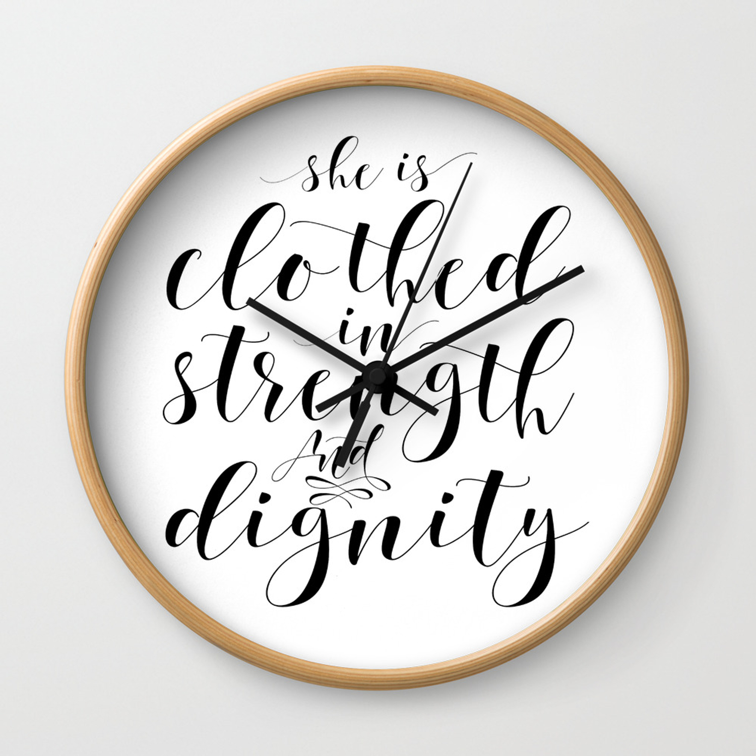 Nursery Room Decor S She Is Clothed In Strength And Dignity Verse Scripture Art Wall Clock