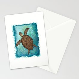 """""""Hawksbill Sea Turtle"""" by Amber Marine ~ Watercolor & Sea Salt Painting, (Copyright 2016) Stationery Cards"""