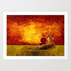 Cute Calvin and the lazy tiger Art painting Art Print