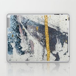 Synergy: a minimal, abstract mixed-media piece in gold, blue, and purple by Alyssa Hamilton Art Laptop & iPad Skin