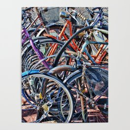 Lots of colorfull bycicles Poster