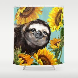 Sloth with Sunflowers Shower Curtain