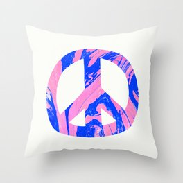 peace, blue & pink Throw Pillow