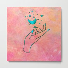 Moon & Stars Magical Celestial Hand Line Art Metal Print
