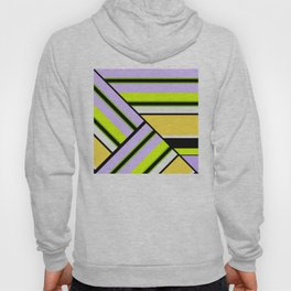 Striped , multi-colored , asymmetric combination pattern . Patchwork . Hoody