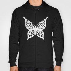 Butterfly White on Black Hoody