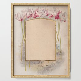 Frame with Cyclamen and a tiny landscape in the background Serving Tray