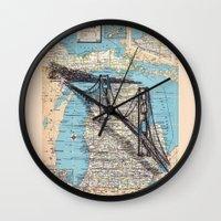 michigan Wall Clocks featuring Michigan by Ursula Rodgers