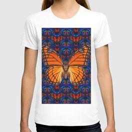 ORANGE BUTTERFLIES  & DARK BLUE ART PATTERN T-shirt