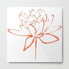 Lotus Blossom Calligraphy Orange Metal Print