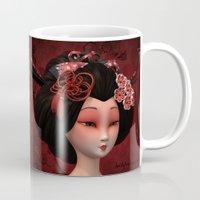 geisha Mugs featuring Geisha by Heidy Curbelo