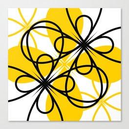 Yellow Black Floral Canvas Print
