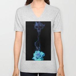 Pale Blue Rose - Smoke skull Unisex V-Neck