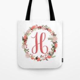 Personal monogram letter 'H' flower wreath Tote Bag