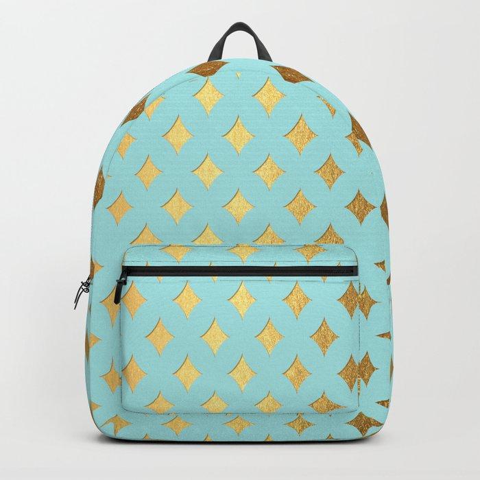 Queenlike- aqua and gold elegant quatrefoil ornament pattern Backpack