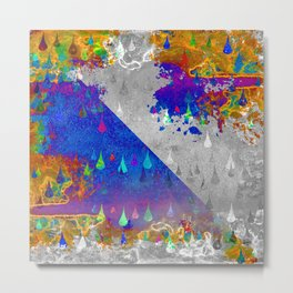 Abstract Colorful Rain Drops Design Metal Print