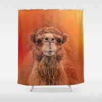 camel Shower Curtains featuring Dromedary Camel by Jai Johnson