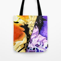 sasuke Tote Bags featuring The Fated Showdown by The Sketchy Corner - Ian Moir