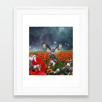 49ers Framed Art Prints featuring Owl my god by Kiki collagist