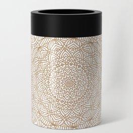 Brown Tan Intricate Detailed Hand Drawn Mandala Ethnic Pattern Design Can Cooler