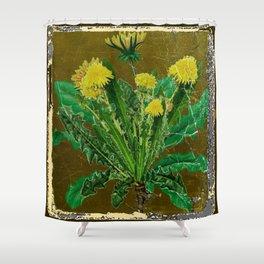 Antique Style Grundy Avocado Color Dandelion Print Art Shower Curtain