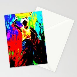 African Lady Carrying Fruit, Abstract Print Stationery Cards