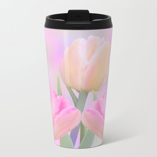 Painterly Pastel Tulips Metal Travel Mug