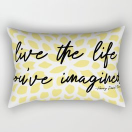 Motivational Quote   Live The Life You've Imagined Dahlia Yellow Rectangular Pillow