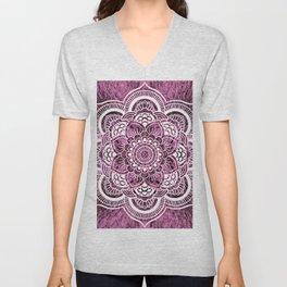 Mandala Mauve Colorburst Unisex V-Neck
