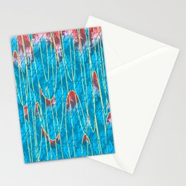 Turquoise lava lamp effect with floral motif Stationery Cards