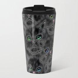 Black Kitten Faces Travel Mug