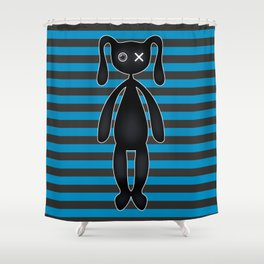 Goth  Turquoise and Black Bunny Shower Curtain