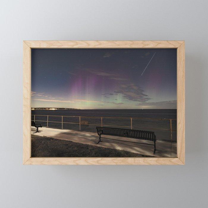 Shooting Star Aurora Framed Mini Art Print