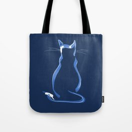 Sitting Cat from behind in Blue Tote Bag