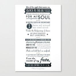Typographic design - Invictus Canvas Print