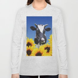 Cow black and white with sunflowers Long Sleeve T-shirt