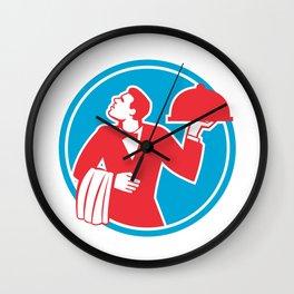 Butler Serving Food Platter Circle Retro Wall Clock