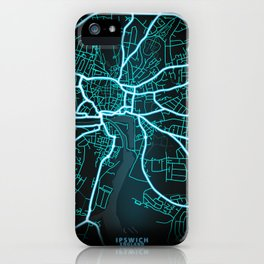 Ipswich, England, Blue, White, Neon, Glow, City, Map iPhone Case