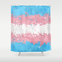 Trans Flag - Messy Action Painting Shower Curtain